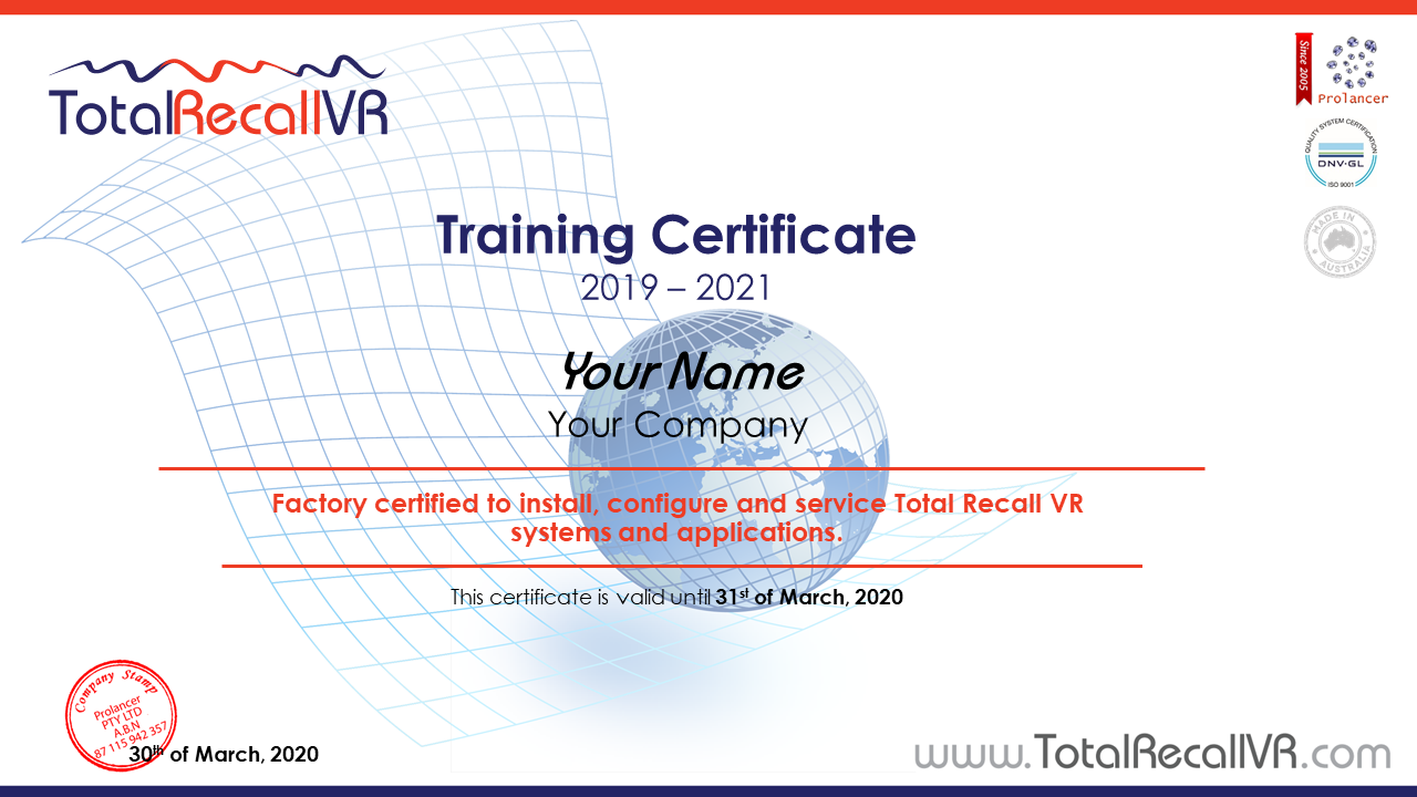 Total Recall VR Training Certificate